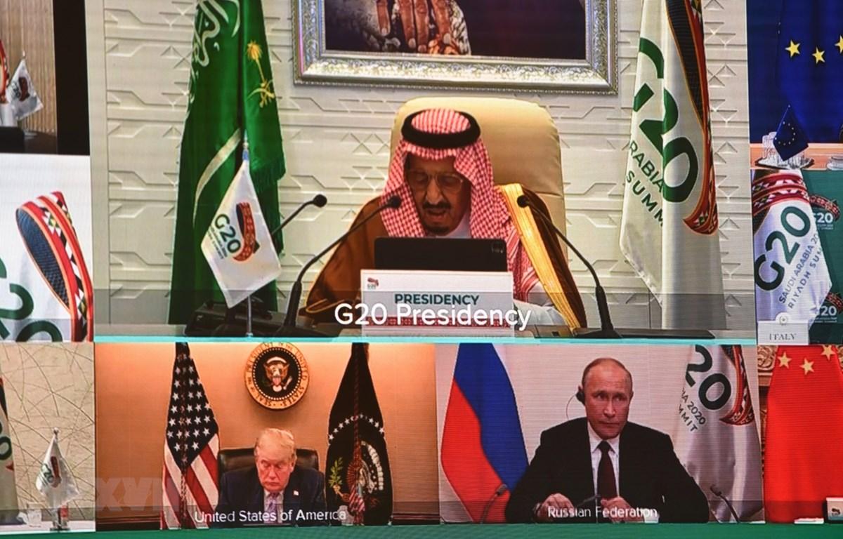Quốc vương Saudi Arabia Salman bin Abdulaziz phát biểu tại Hội nghị thượng đỉnh G20, được tổ chức trực tuyến, ngày 21/11/2020. (Ảnh: AFP/TTXVN)