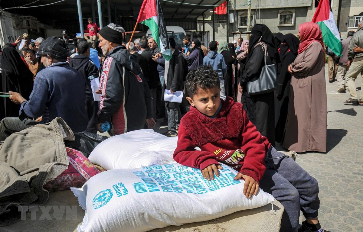 Người dân Palestine nhận lương thực cứu trợ tại một trung tâm phân phối của Cơ quan cứu trợ và hành động của LHQ (UNRWA) tại trại tị nạn Khan Yunis, Dải Gaza, ngày 7/3/2020. (Ảnh: AFP/TTXVN)