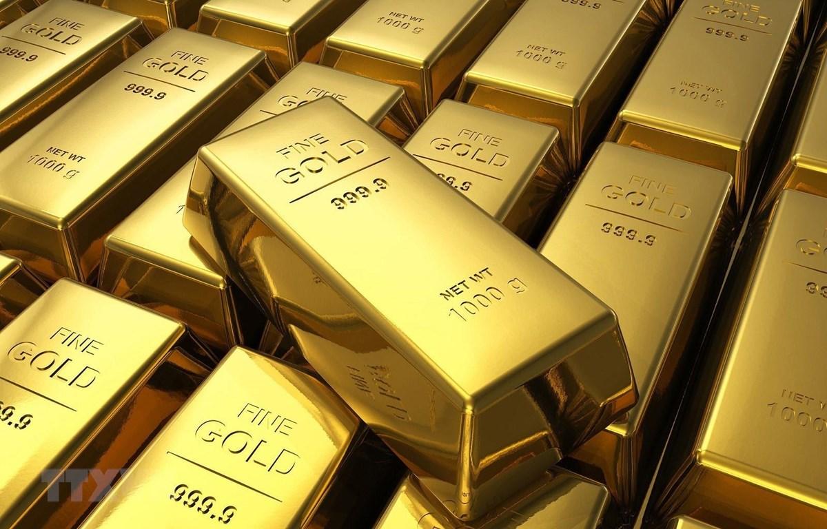 Vàng miếng được trưng bày tại ngân hàng Deutsche Bundesbank ở Frankfurt am Main, Đức. (Ảnh: AFP/TTXVN)