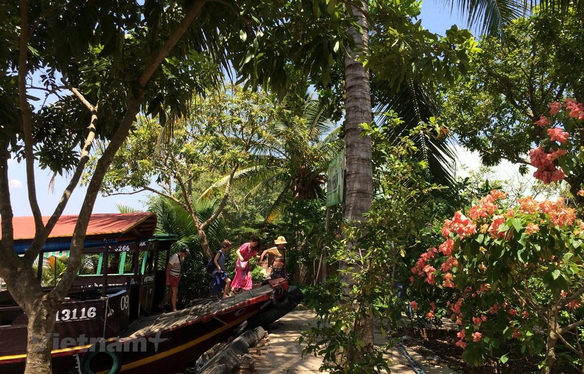 Du khách thăm quan đồng bằng sông Cửu Long. (Ảnh: M.Mai/Vietnam+)