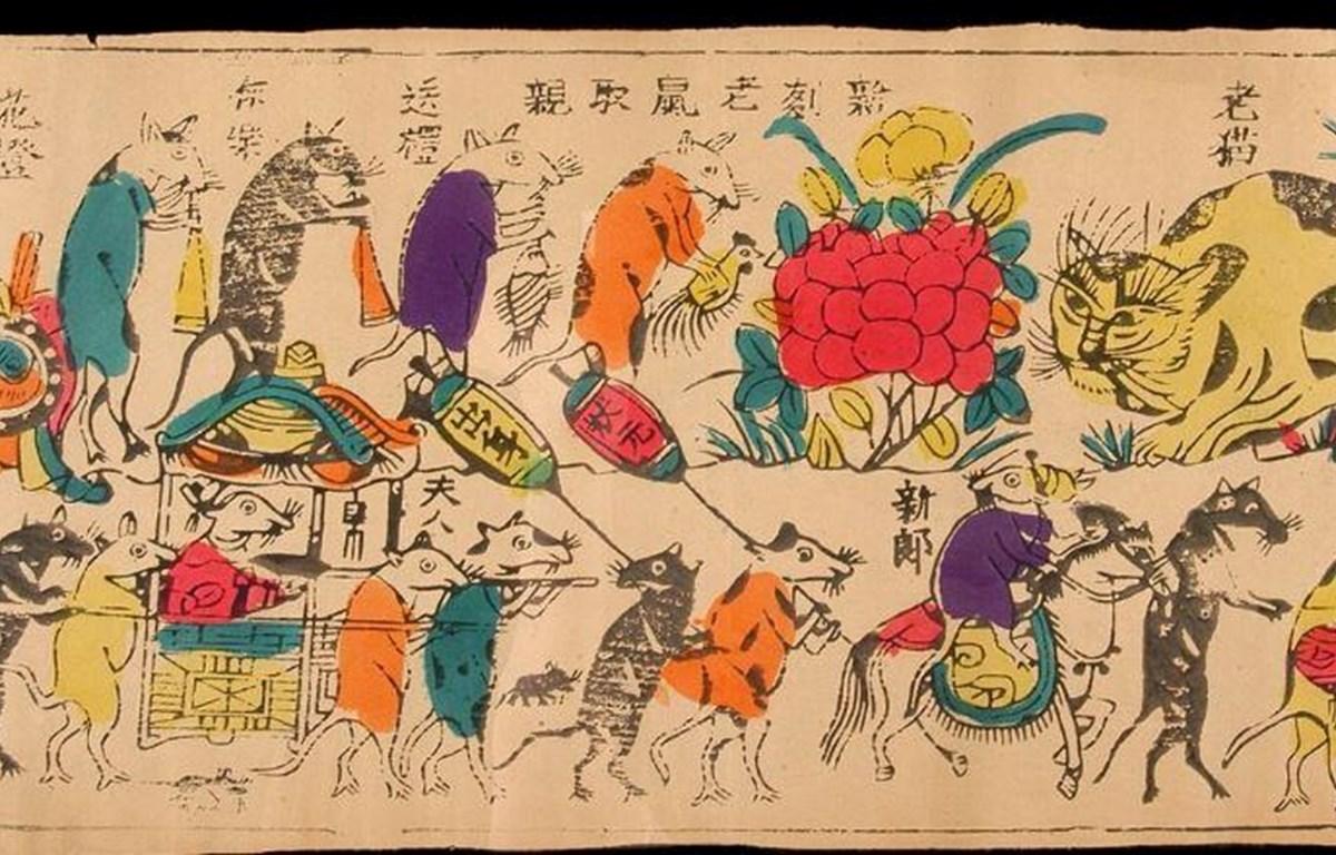 Bức tranh kinh điển của dòng tranh Đông Hồ Việt Nam - Đám cưới chuột. (Ảnh tư liệu)