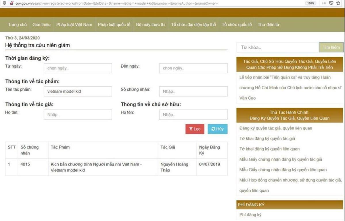 Bà Trần Tám tra niên giám về đăng ký bản quyền được công bố công khai trên website của Cục Bản quyền Tác giả.