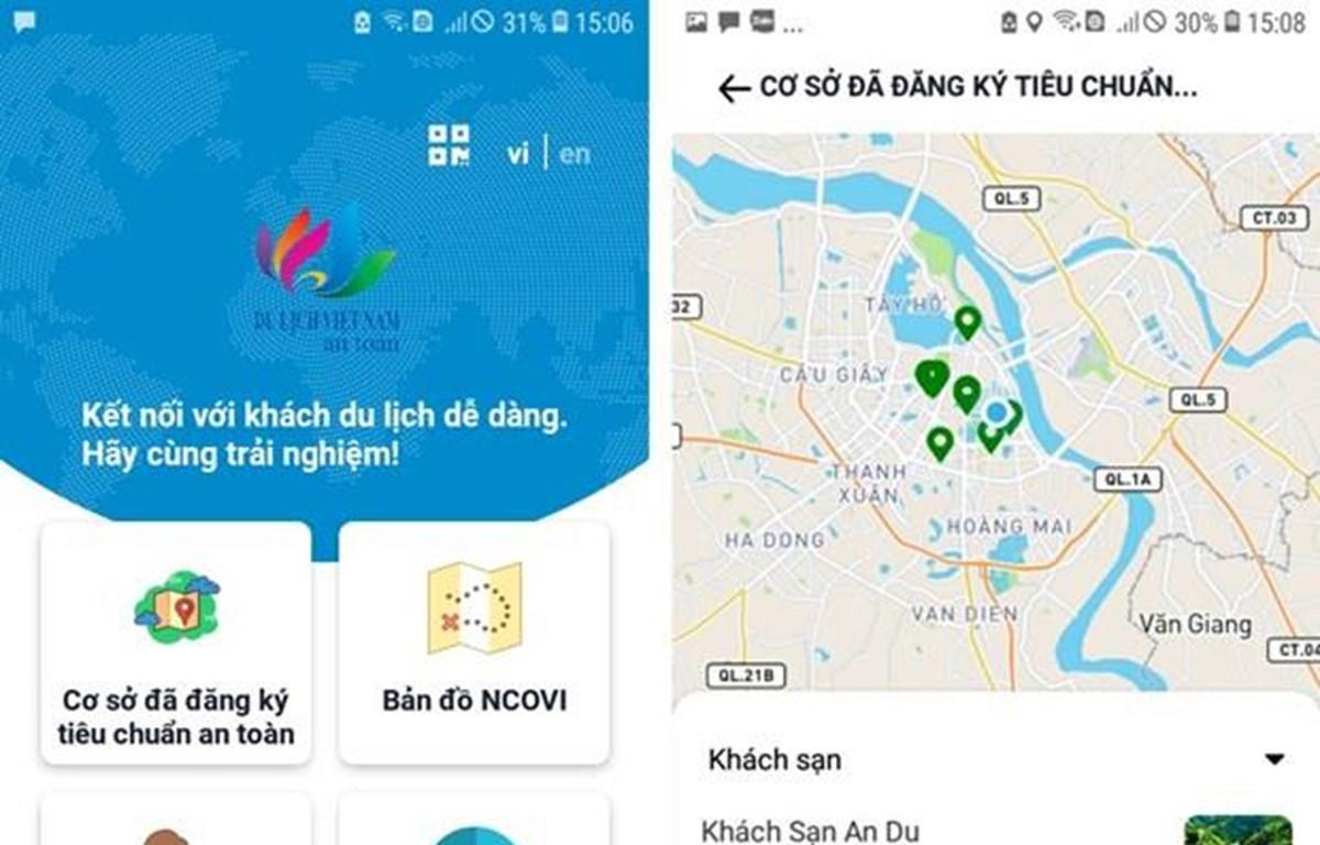 """Ứng dụng """"Du lịch Việt Nam an toàn"""" tích hợp nhiều tính năng cần thiết. (Nguồn: Vietnamtourism.gov.vn)"""