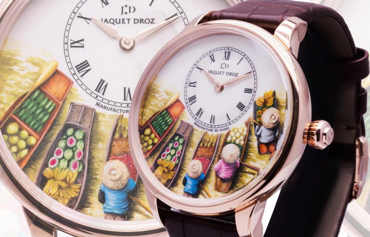 Tiểu họa chợ nổi Việt Nam trên độc bản của thương hiệu đồng hồ lâu đời nhất Thụy Sỹ. (Ảnh: CTV/Vietnam+)