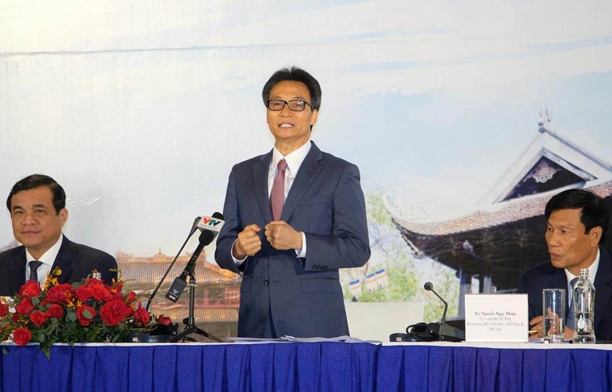 Phó Thủ tướng, Trưởng ban Chỉ đạo nhà nước về Du lịch Vũ Đức Đam phát biểu chỉ đạo tại Hội nghị toàn quốc về Du lịch năm 2020. (Ảnh: CTV/Vietnam+)