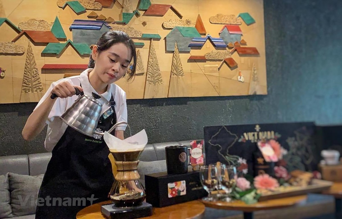 Dòng càphê arabica Đà Lạt mang hương vị đặc biệt vừa được Starbucks giới thiệu ra thị trường. (Ảnh: M.Mai/Vietnam+)