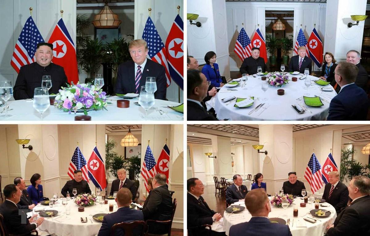 Báo Rodong Sinmun đăng phát các hình ảnh về Tổng thống Mỹ Donald Trump và Chủ tịch Triều Tiên Kim Jong-un dùng bữa tối thân mật. (Ảnh: Yonhap/TTXVN)
