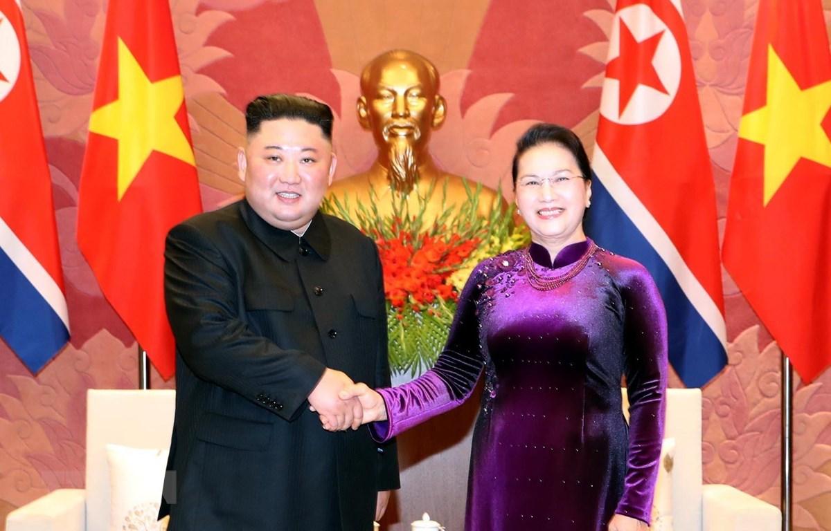Chủ tịch Quốc hội Nguyễn Thị Kim Ngân hội kiến Chủ tịch Triều Tiên Kim Jong-un. (Ảnh: Trọng Đức/TTXVN)