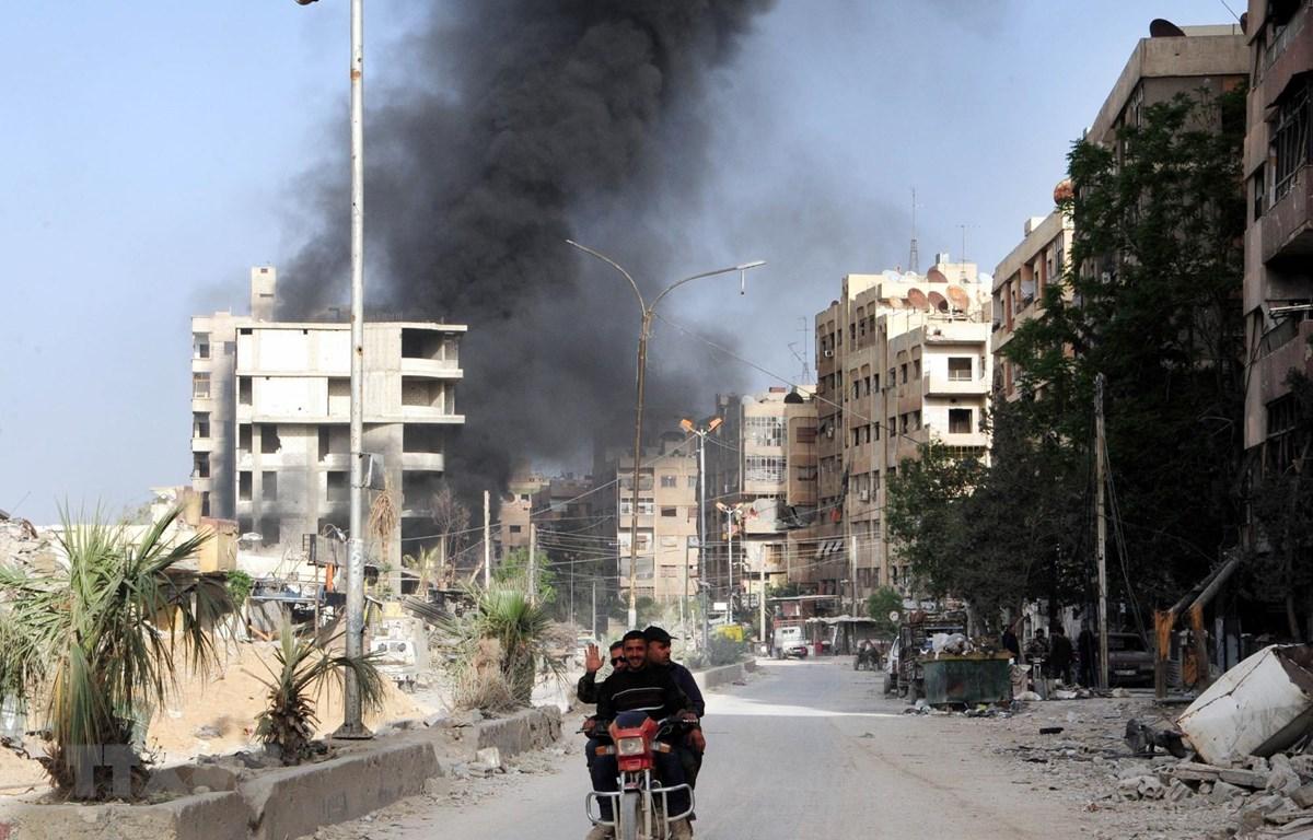 Cảnh đổ nát ở Douma, Đông Ghouta sau xung đột ngày 18/4. (Ảnh: THX/ TTXVN)