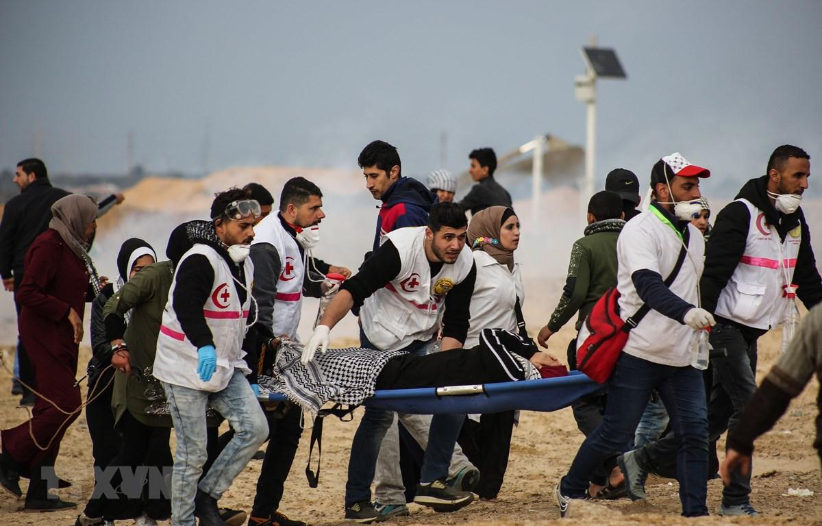Nhân viên y tế chuyển người Palestine bị thương trong cuộc đụng độ với binh sỹ Israel tại khu vực biên giới Dải Gaza-Israel, ngày 19/2/2019. (Ảnh: THX/ TTXVN)