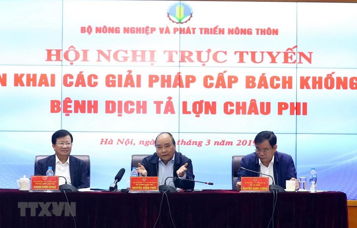 Thủ tướng Nguyễn Xuân Phúc, Phó Thủ tướng Trịnh Đình Dũng và Bộ trưởng Nguyễn Xuân Cường chủ trì hội nghị. (Ảnh: Thống Nhất/TTXVN)