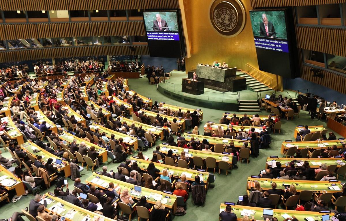 Quang cảnh phiên khai mạc Khóa họp thường kỳ thứ 63 của Ủy ban Địa vị Phụ nữ Liên hợp quốc. (Ảnh: Nguyễn Thanh/TTXVN)