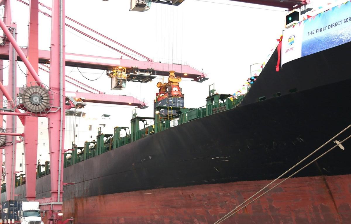 Tàu Morotai trọng tải 40.000 tấn cập Cảng Container quốc tế SP-ITC. (Ảnh: Trần Xuân Tình/TTXVN)