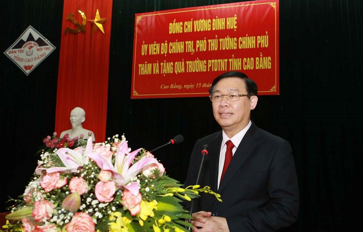 Phó Thủ tướng Vương Đình Huệ phát biểu. (Ảnh: Doãn Tấn/TTXVN)