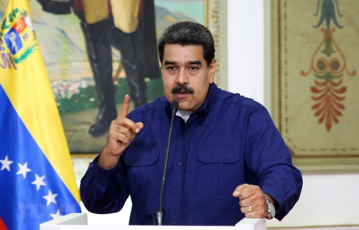 Tổng thống Venezuela Nicolas Maduro tại cuộc họp báo ở Caracas, Venezuela ngày 11/3. (Ảnh: AFP/TTXVN)