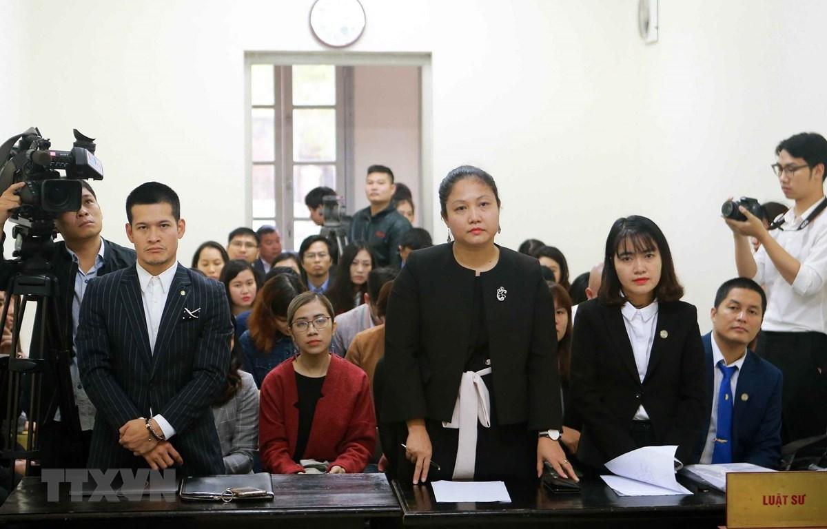 Nguyên đơn là Công ty cổ phần Tuần Châu Hà Nội và bị đơn là Công ty DS do đạo diễn Việt Tú (đứng thứ nhất bên trái) làm giám đốc. (Ảnh: Doãn Tấn/TTXVN)