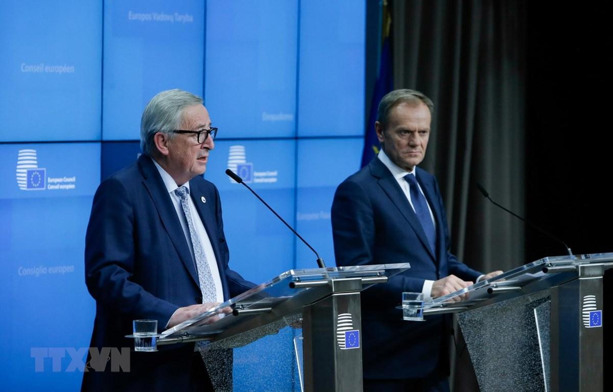 Chủ tịch Ủy ban châu Âu Jean-Claude Juncker (trái) và Chủ tịch Hội đồng châu Âu Donald Tusk (phải) trong cuộc họp báo tại Hội nghị thượng đỉnh EU ở Brussels, Bỉ. (Ảnh: AFP/TTXVN)