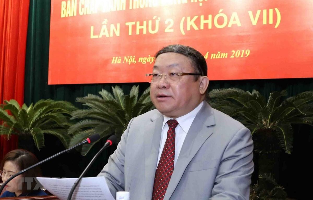 Chủ tịch Ban Chấp hành Trung ương Hội Nông dân Việt Nam Thào Xuân Sùng phát biểu. (Ảnh: Vũ Sinh/TTXVN)