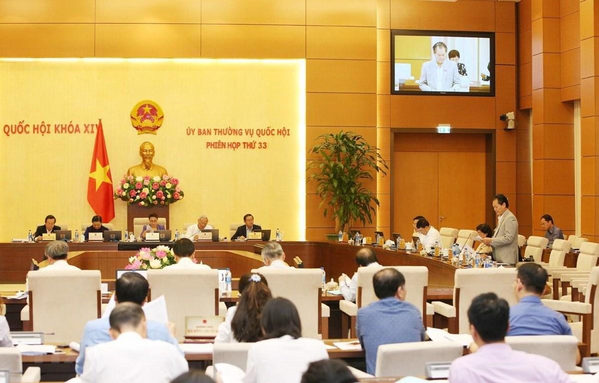 Quang cảnh Phiên họp thứ 33 của Ủy ban Thường vụ Quốc hội chiều 10/4. (Ảnh: Dương Giang/TTXVN)