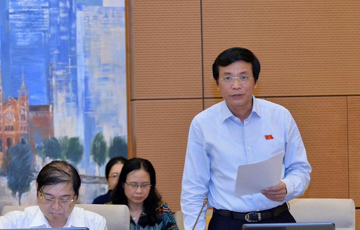 Tổng Thư ký của Quốc hội Nguyễn Hạnh Phúc phát biểu. Ả(nh: Văn Điệp/TTXVN)