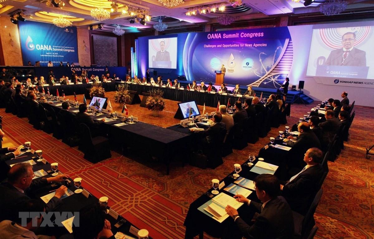 Hội nghị Thượng đỉnh OANA diễn ra tại Seoul (Hàn Quốc) trong hai ngày 22 và 23/4/2010 với sự tham dự của khoảng 90 nhà lãnh đạo đại diện cho 44 hãng thông tấn từ 35 quốc gia thành viên OANA. (Nguồn: Yonhap/TTXVN)