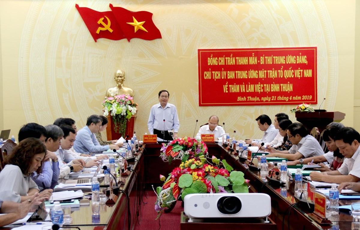 Chủ tịch Ủy ban Trung ương MTTQ Việt Nam Trần Thanh Mẫn phát biểu tại buổi làm việc. (Ảnh: Nguyễn Thanh/TTXVN)
