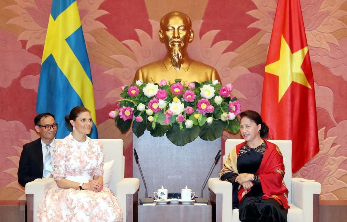 Chủ tịch Quốc hội Nguyễn Thị Kim Ngân tiếp Công chúa kế vị Thụy Điển Victoria Ingrid Alice Désireé đang ở thăm Việt Nam. (Ảnh: Trọng Đức/TTXVN)