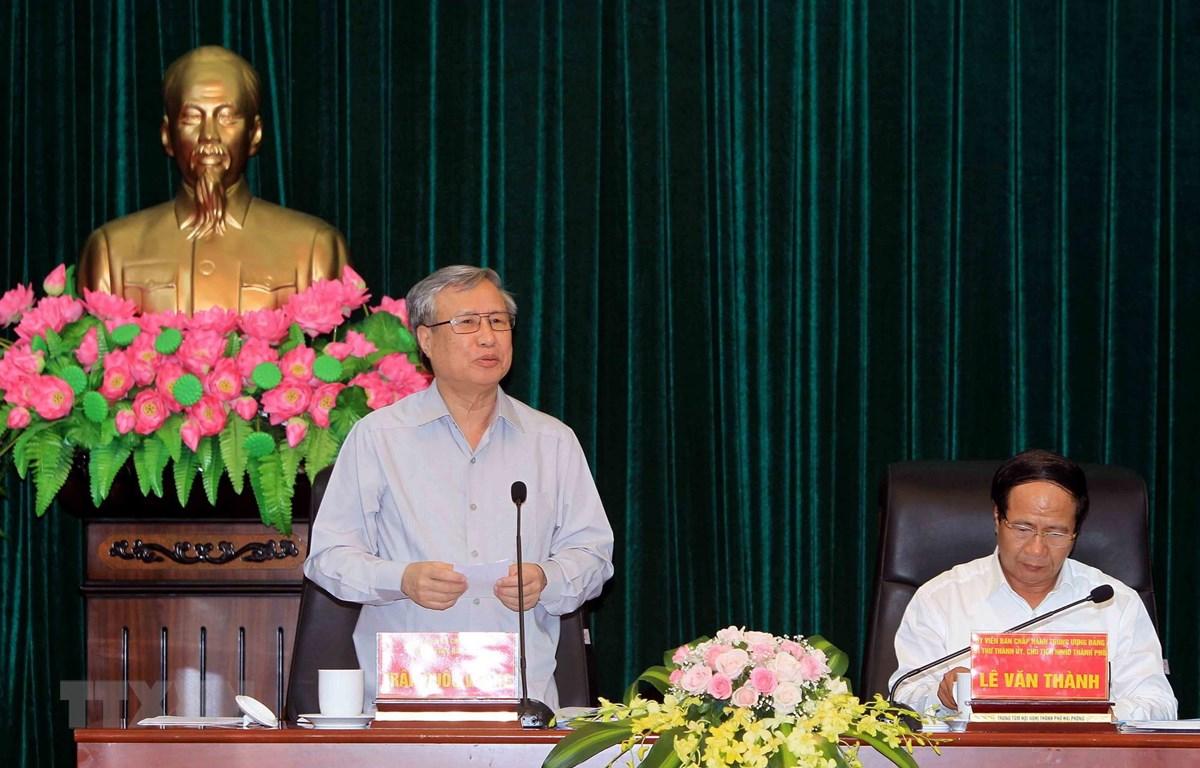 Ông Trần Quốc Vượng, Ủy viên Bộ Chính trị, Thường trực Ban Bí thư, Phó Trưởng Bộ phận thường trực Tiểu ban phát biểu tại buổi làm việc. (Ảnh: An Đăng/TTXVN)