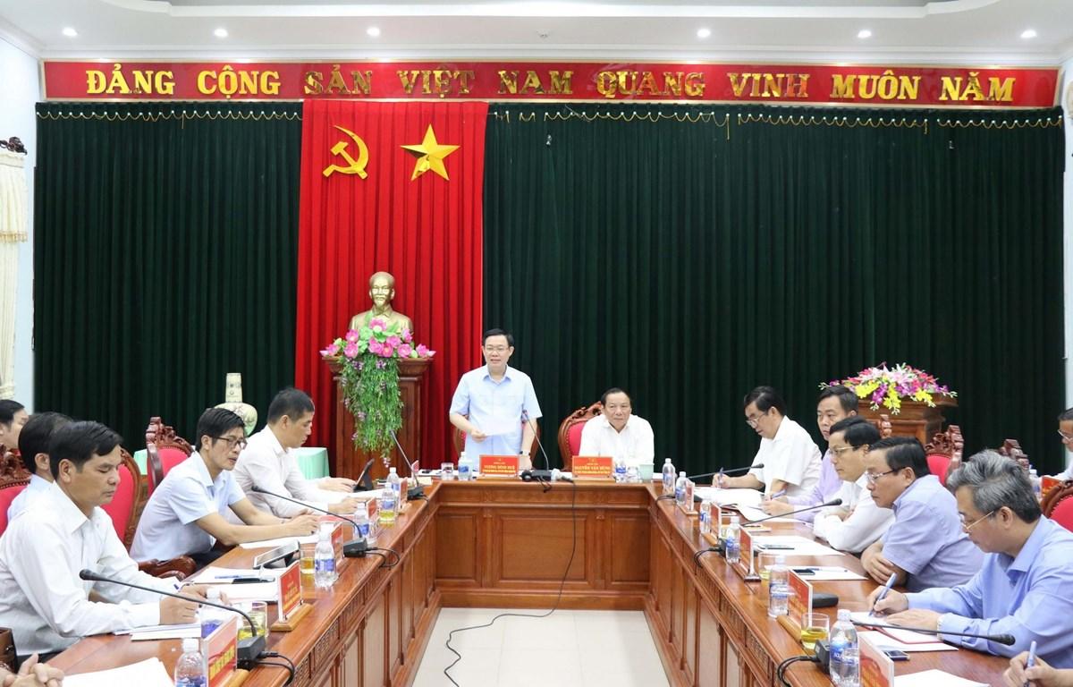 Ông Vương Đình Huệ, Ủy viên Bộ Chính trị, Phó Thủ tướng Chính phủ phát biểu tại buổi làm việc. (Ảnh: Nguyên Lý/TTXVN)