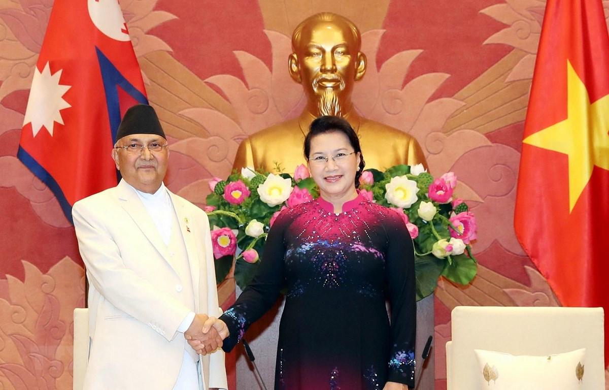 Chủ tịch Quốc hội Nguyễn Thị Kim Ngân hội kiến Thủ tướng Nepal Khadga Prasad Sharma Oli. (Ảnh: Trọng Đức/TTXVN)