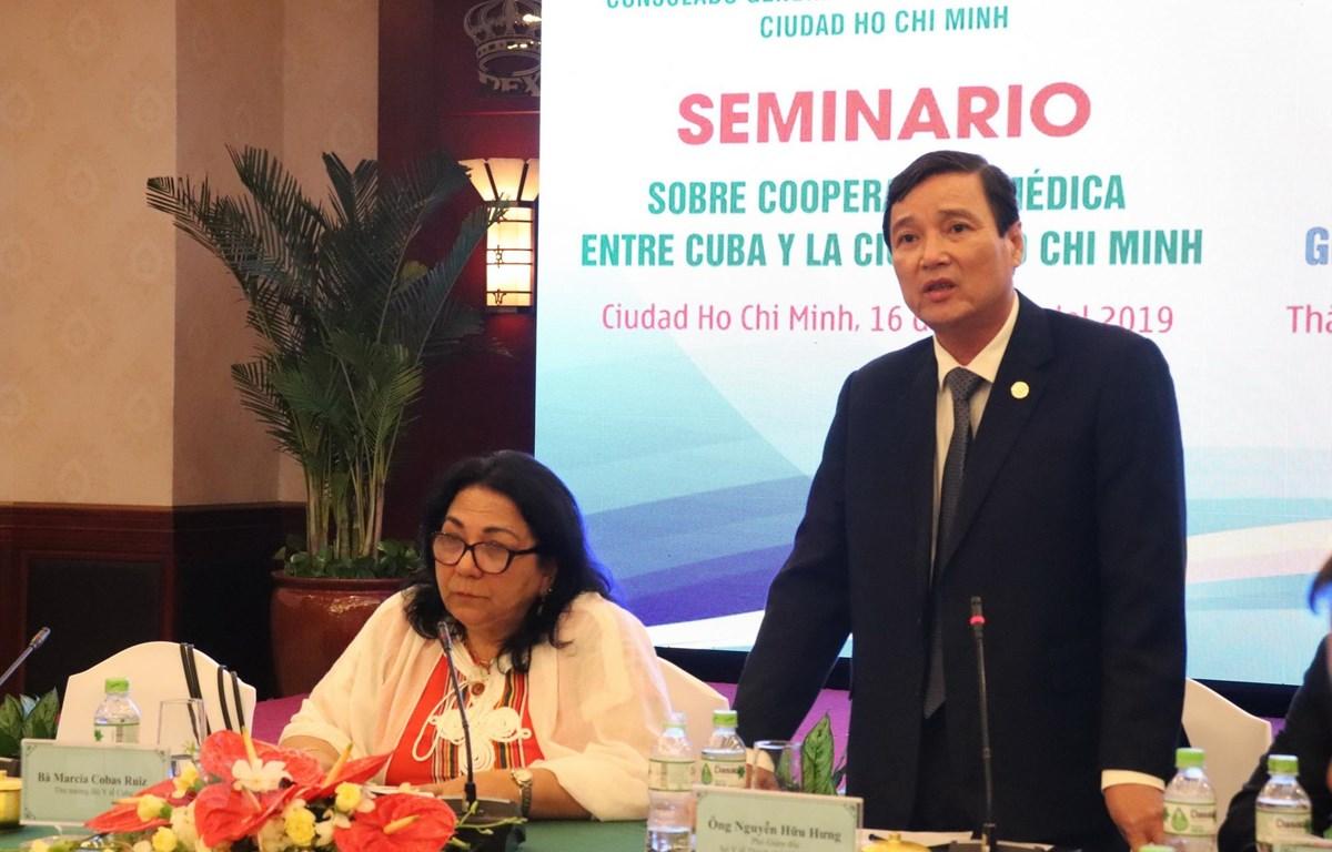 Ông Nguyễn Hữu Hưng, Phó Giám đốc Sở Y tế Thành phố Hồ Chí Minh phát biểu. (Ảnh: Đinh Hằng/TTXVN)