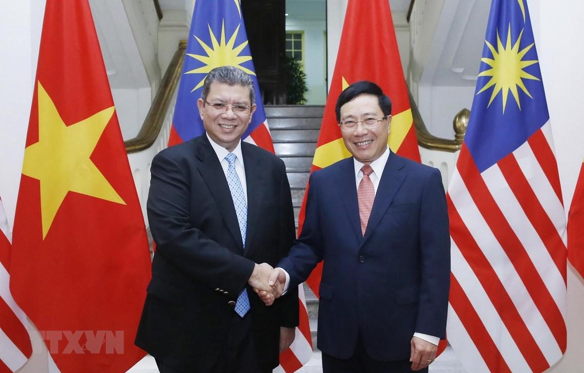 Phó Thủ tướng, Bộ trưởng Bộ Ngoại giao Phạm Bình Minh đón Bộ trưởng Bộ Ngoại giao Malaysia Saifuddin Abdullah. (Ảnh: Lâm Khánh/TTXVN)