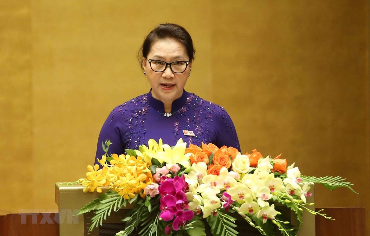 Chủ tịch Quốc hội Nguyễn Thị Kim Ngân phát biểu khai mạc kỳ họp. (Ảnh: Doãn Tấn/TTXVN)