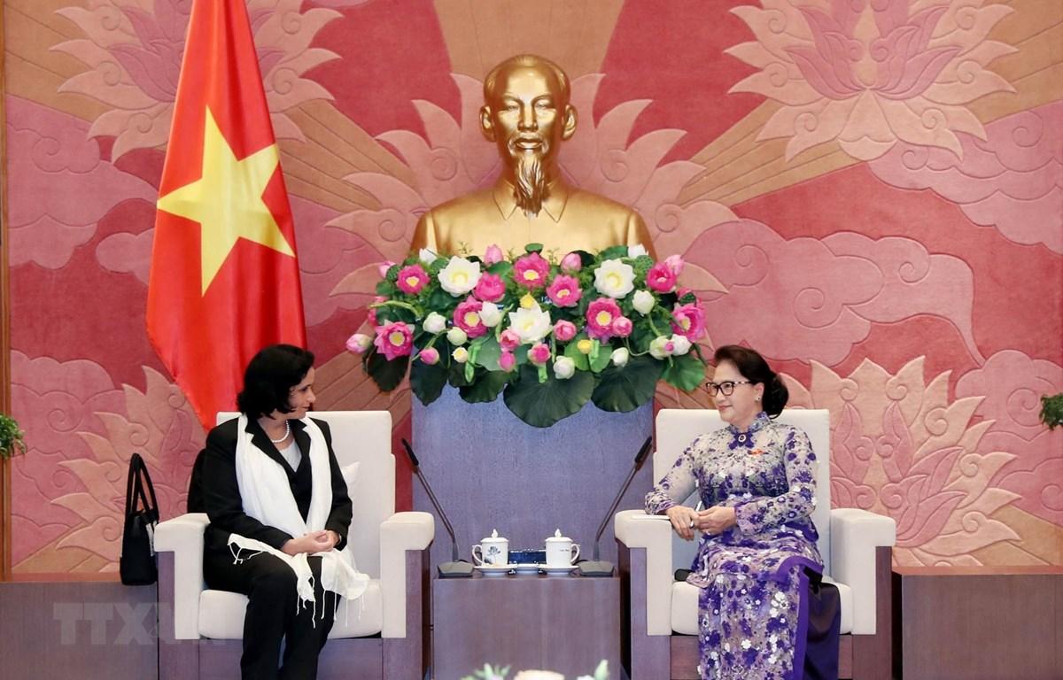Chủ tịch Quốc hội Nguyễn Thị Kim Ngân đã tiếp Viện trưởng Viện Kiểm sát Nhân dân Tối cao Cộng hòa Cuba Yamila Pena Ojeda. (Ảnh: Trọng Đức/TTXVN)