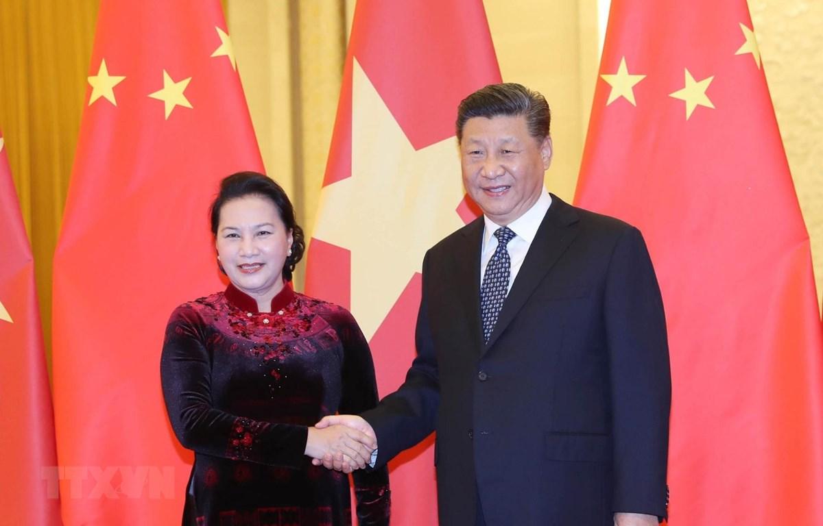 Chủ tịch Quốc hội Nguyễn Thị Kim Ngân hội kiến Tổng Bí thư, Chủ tịch nước Trung Quốc Tập Cận Bình. (Ảnh: Trọng Đức/TTXVN)