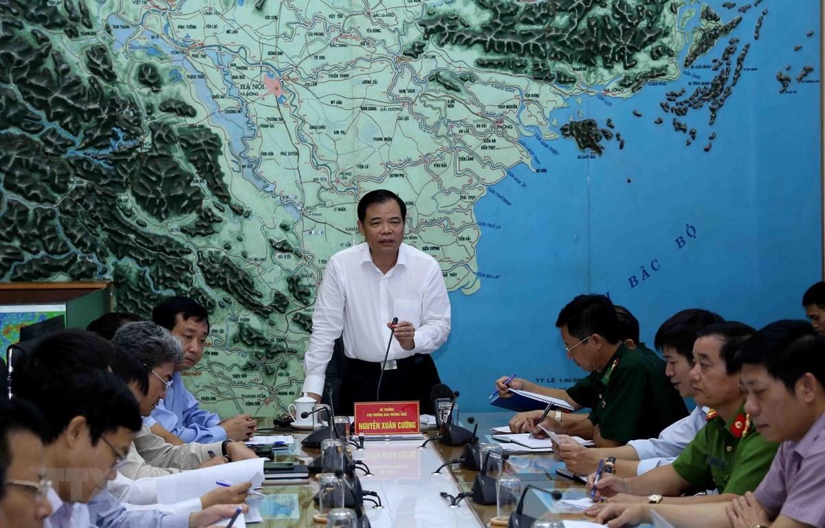 Bộ trưởng Bộ Nông nghiệp và Phát triển nông thôn, Phó Ban Thường trực Ban Chỉ đạo Trung ương về phòng chống thiên tai Nguyễn Xuân Cường phát biểu. (Ảnh: Vũ Sinh/TTXVN)