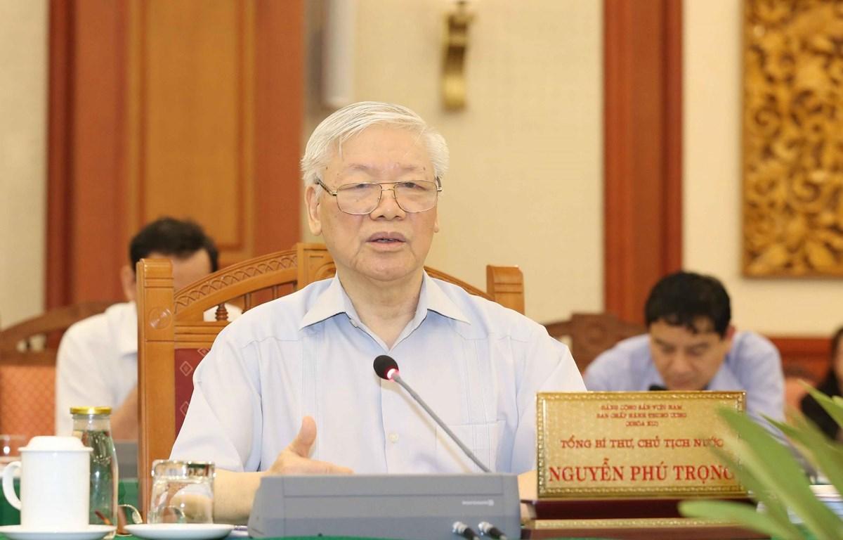 Tổng Bí thư, Chủ tịch nước Nguyễn Phú Trọng phát biểu chỉ đạo buổi làm việc. (Ảnh: Phương Hoa/TTXVN)