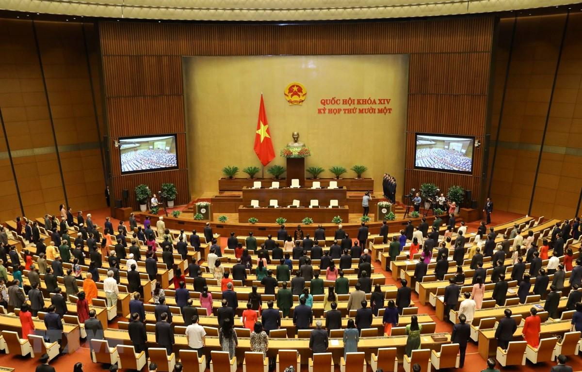 Toàn cảnh lễ chào cờ bế mạc Kỳ họp thứ 11, Quốc hội khóa XIV. (Ảnh: Văn Điệp/TTXVN)