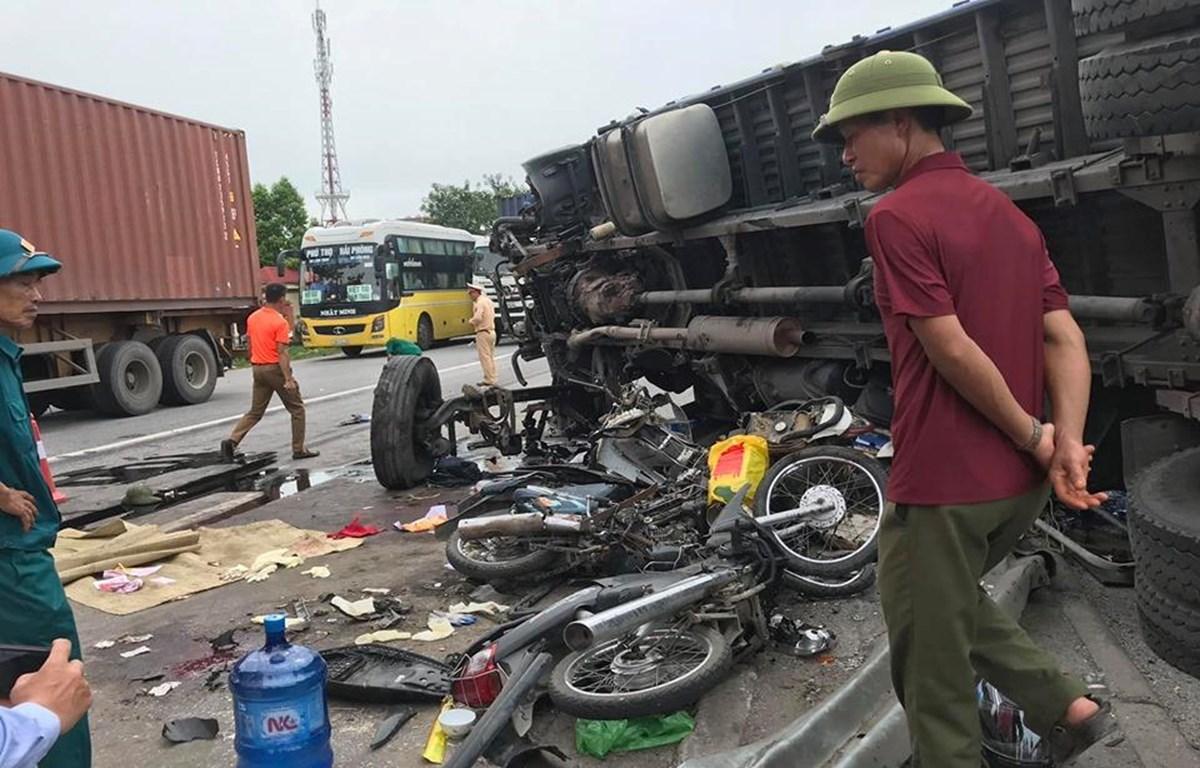 Hiện trường vụ tai nạn (Ảnh: Vietnam+)