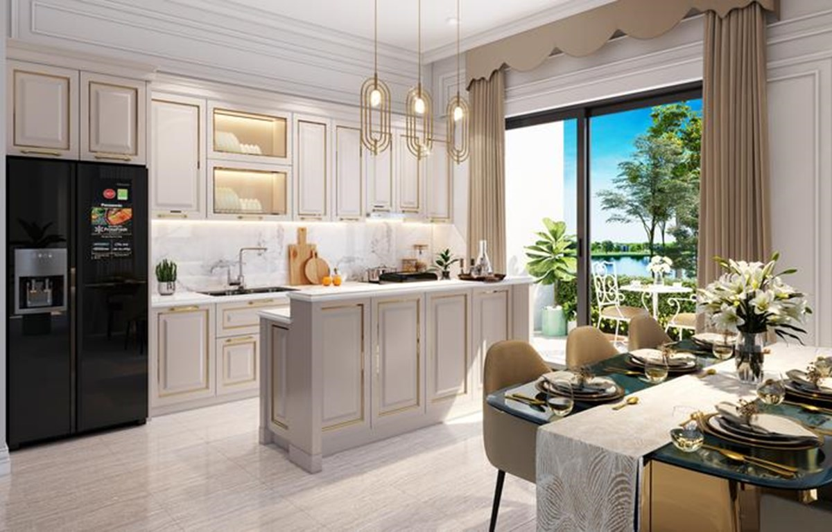 Hình ảnh phối cảnh phòng bếp và phòng ăn của gia đình. (Ảnh: CTV)