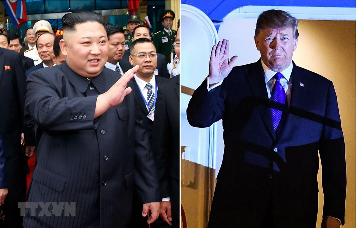 Tổng thống Mỹ Donald Trump (phải) và Chủ tịch Triều Tiên Kim Jong-un (trái) tới Việt Nam để dự Hội nghị thượng đỉnh Mỹ-Triều lần hai, ngày 6/2/2019. (Ảnh: Yonhap/TTXVN)