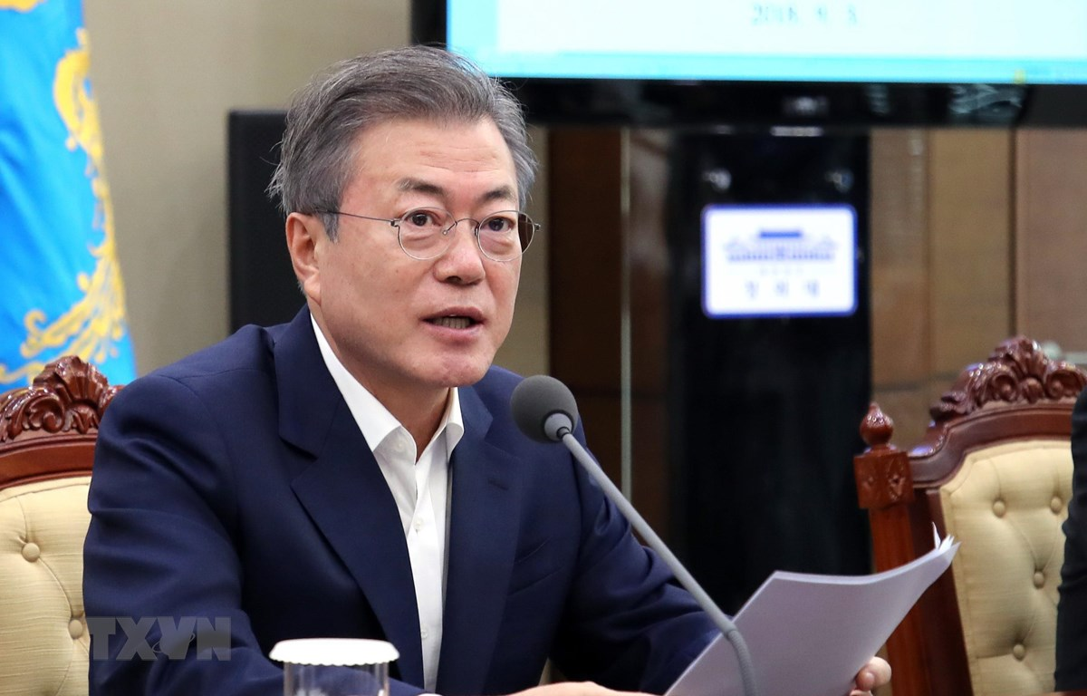 Tổng thống Hàn Quốc Moon Jae-in phát biểu tại cuộc họp ở Seoul. (Ảnh: Yonhap/TTXVN)