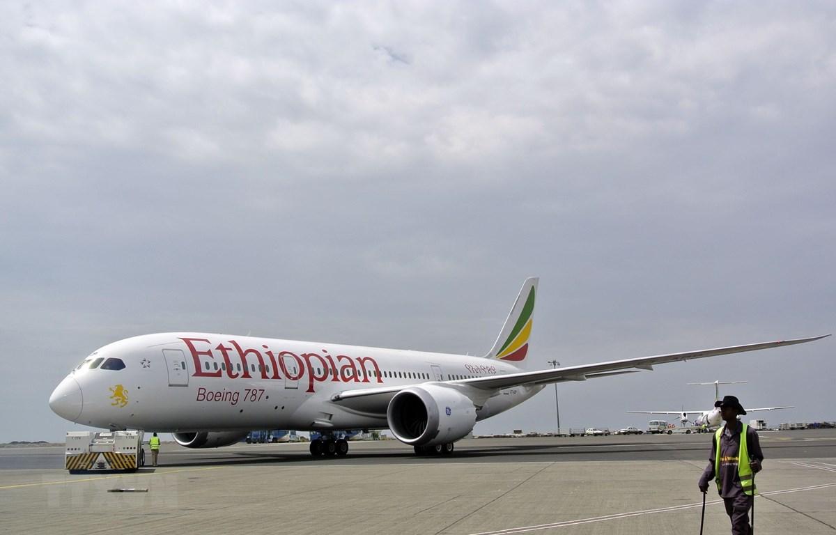 Máy bay Boeing 787 Dreamliner của Hãng hàng không Ethiopian Airlines tại sân bay quốc tế Bole ở Addis Ababa, Ethiopia. (Nguồn: AFP/TTXVN)