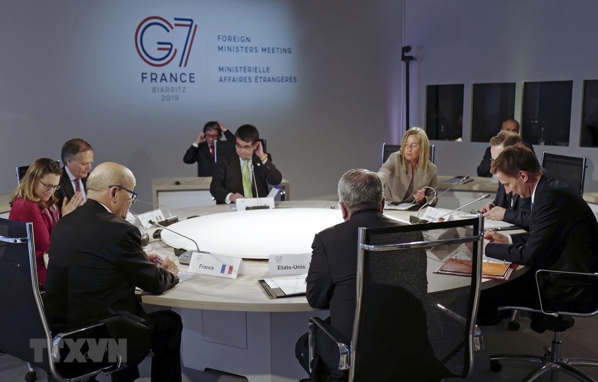 Ngoại trưởng nhóm G7 họp ở Dinard, Pháp ngày 5/4/2019. (Ảnh: AFP/TTXVN)