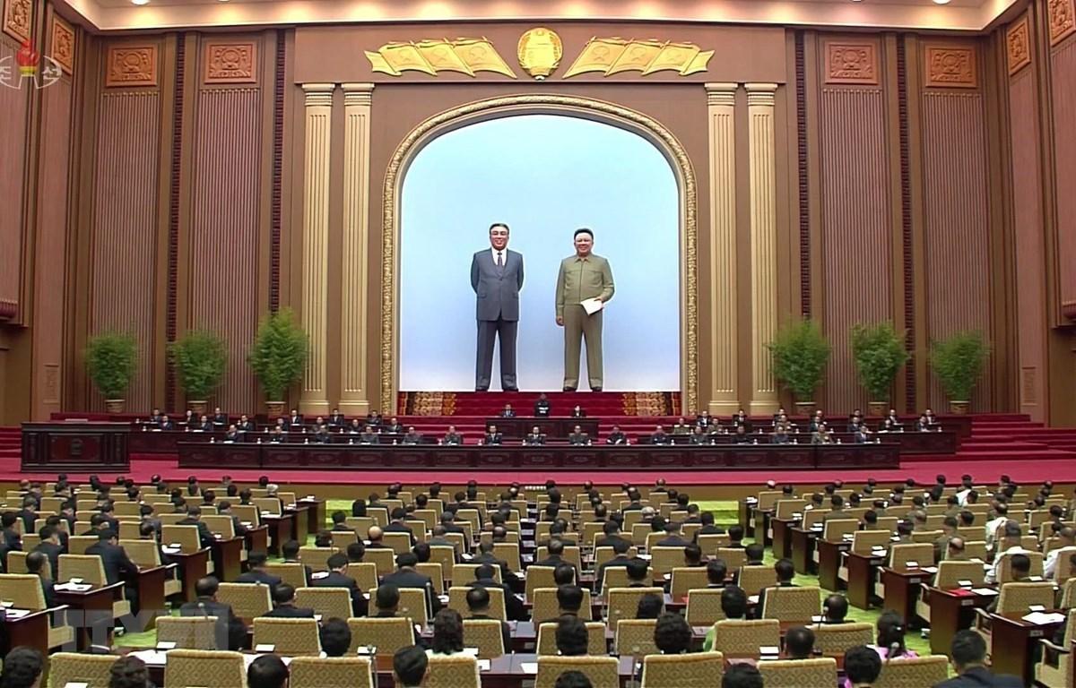 Các đại biểu tham dự kỳ họp thứ hai Hội đồng Nhân dân Tối cao (tức Quốc hội Triều Tiên) khóa 14 ở Bình Nhưỡng ngày 29/8. (Ảnh: Yonhap/TTXVN)