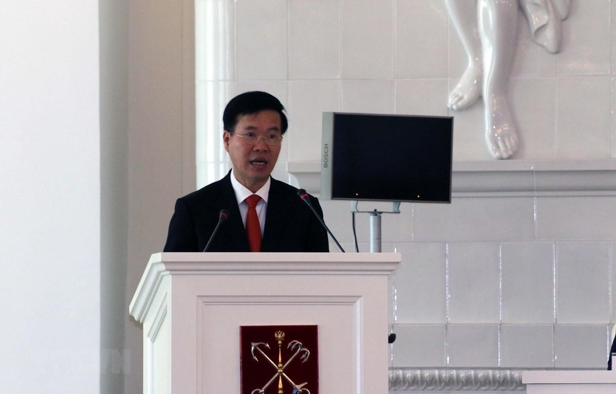 Trưởng Ban Tuyên giáo Trung ương Võ Văn Thưởng phát biểu. (Ảnh: Duy Trinh/TTXVN)