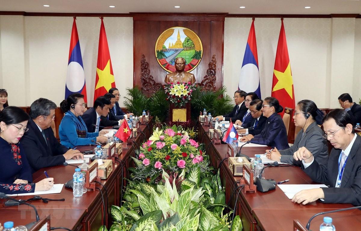 Chủ tịch Quốc hội Nguyễn Thị Kim Ngân hội đàm với Chủ tịch Quốc hội Lào Pany Yathotou. (Ảnh: Trọng Đức/TTXVN)
