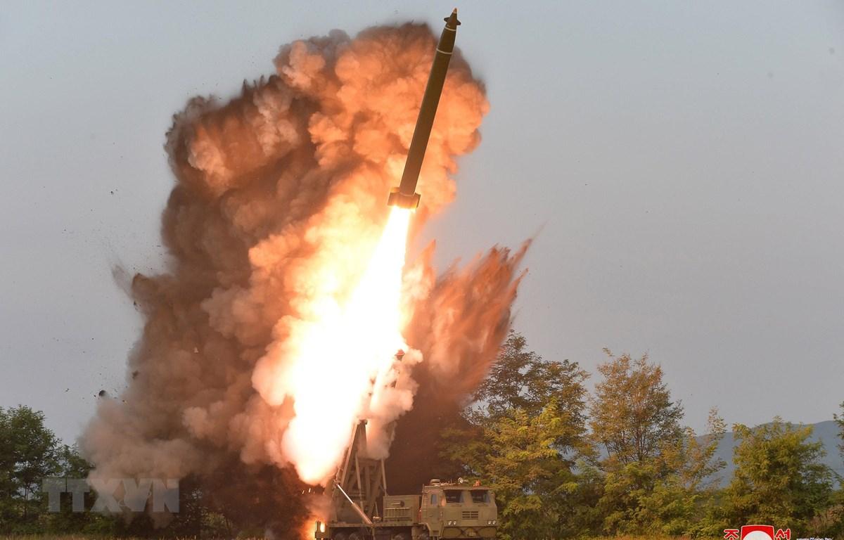 Một vụ thử vũ khí của Triều Tiên tại tỉnh Nam Pyongan, Triều Tiên ngày 10/9/2019. (Ảnh: Yonhap/TTXVN)