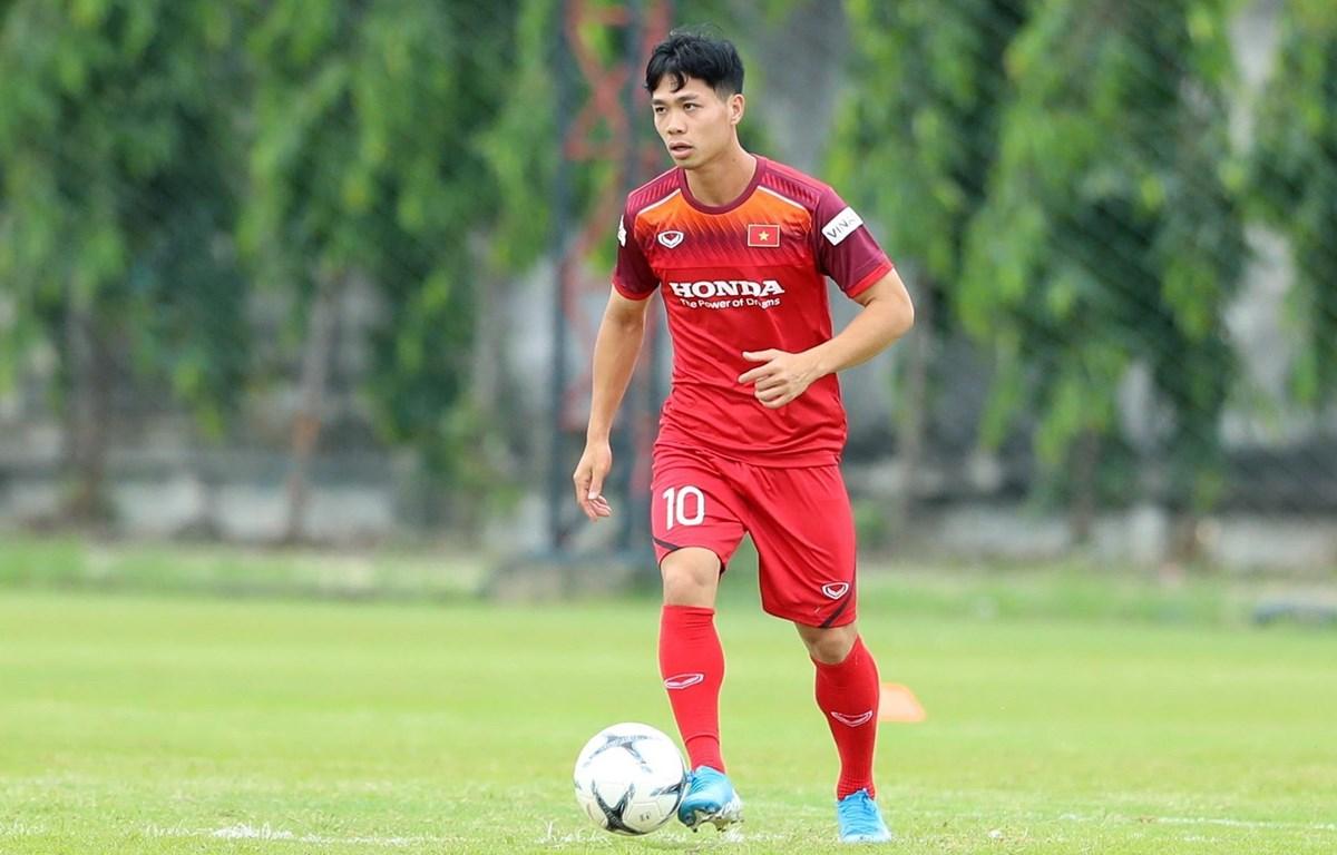 Tiền đạo Công Phượng trở về từ Bỉ để luyện tập cùng đội tuyển. (Ảnh: Hoàng Linh/TTXVN)
