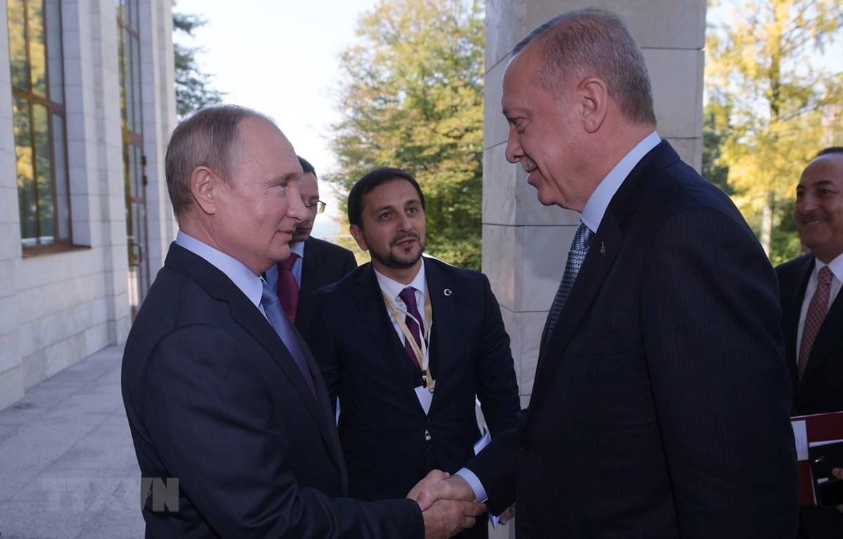 Tổng thống Nga Vladimir Putin (trái, phía trước) và Tổng thống Thổ Nhĩ Kỳ (phải) trong cuộc gặp tại Sochi (Nga) ngày 22/10/2019. (Ảnh: THX/TTXVN)